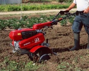Using a Rotavator on an area of land